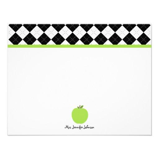 Argyle negro Apple verde personalizó al profesor Comunicado Personal