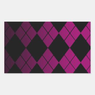 Argyle negro pegatina rectangular