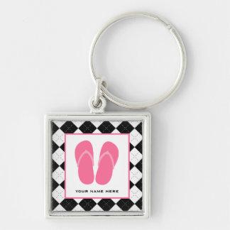 Argyle negro y flips-flopes rosados llavero cuadrado plateado