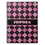 Argyle negro y rosado libros de apuntes