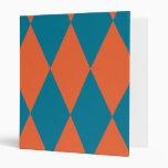 Argyle Orange and Blue Cool Design Binder