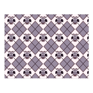 Argyle owl violet pattern postcard