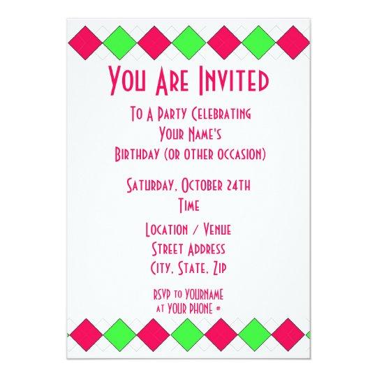 Argyle party invitation