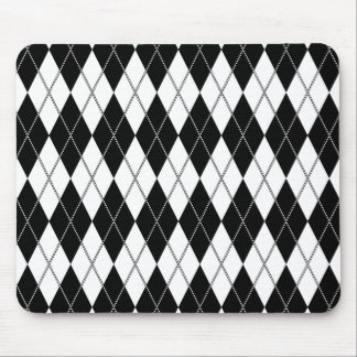 Argyle Pattern 1 Black and White Mouse Pad