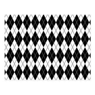 Argyle Pattern 1 Black and White Postcards