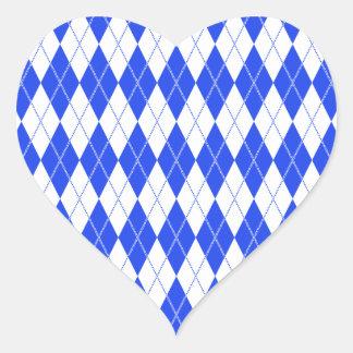 Argyle Pattern 1 Blue Heart Sticker