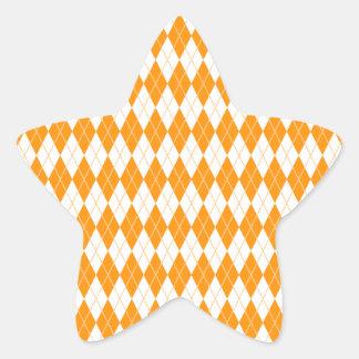 Argyle Pattern 1 Orange Star Sticker