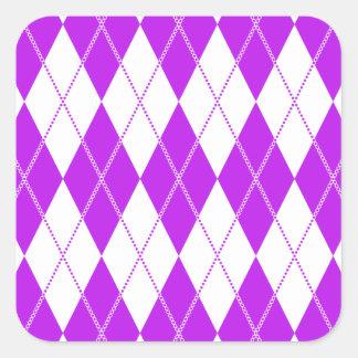 Argyle Pattern 1 Purple Square Sticker