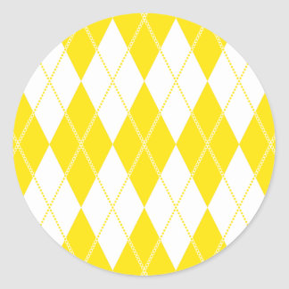 Argyle Pattern 1 Yellow Classic Round Sticker