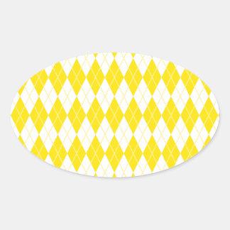 Argyle Pattern 1 Yellow Oval Sticker