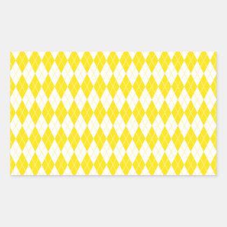 Argyle Pattern 1 Yellow Rectangular Sticker
