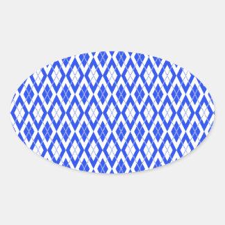 Argyle Pattern 2 Blue Oval Sticker