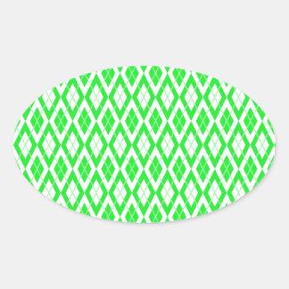 Argyle Pattern 2 Green Oval Sticker