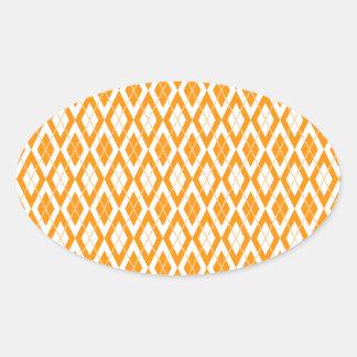Argyle Pattern 2 Orange Oval Sticker