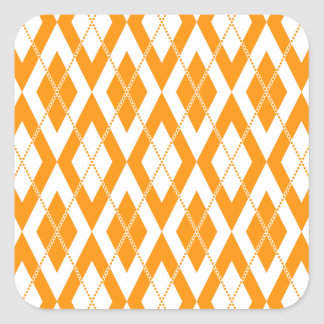 Argyle Pattern 2 Orange Square Sticker