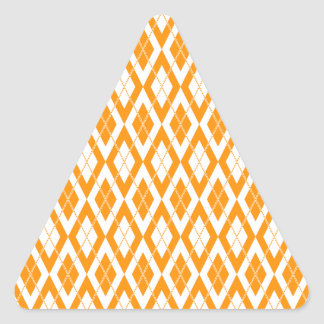 Argyle Pattern 2 Orange Triangle Sticker