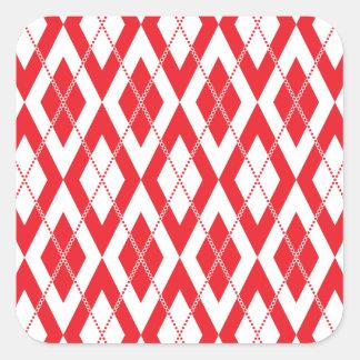 Argyle Pattern 2 Red Square Sticker