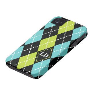 Argyle pattern black, aqua, green monogram iPhone 4 Case-Mate cases