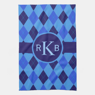 Argyle pattern blue custom personalized initials towel