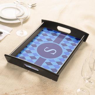 Argyle pattern blue custom personalized monogram food trays