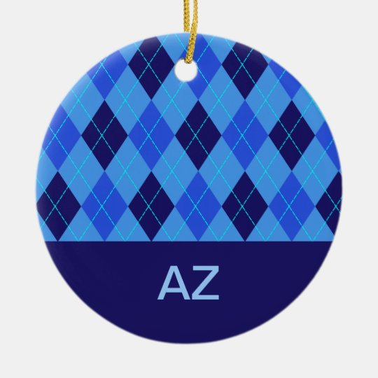 Argyle pattern blue personalised letter A ornament