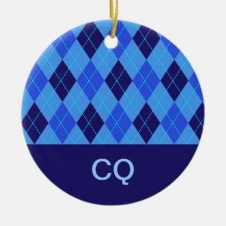 Argyle pattern blue personalised letter C ornament