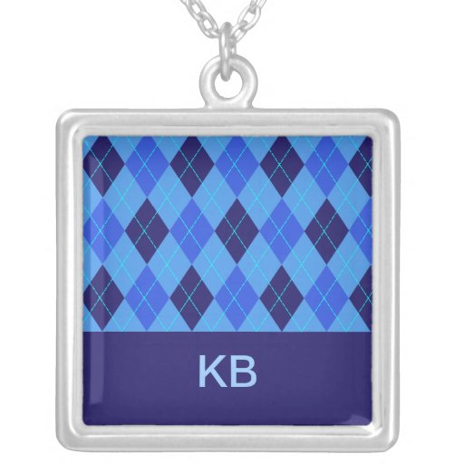 Argyle pattern blue personalised letter K necklace