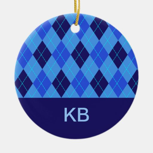 Argyle pattern blue personalised letter K ornament