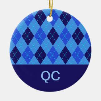 Argyle pattern blue personalised letter Q ornament