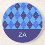 Argyle pattern blue personalised letter Z  coaster