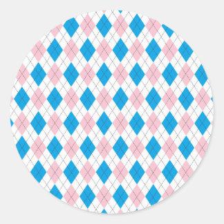 Argyle Pattern Classic Round Sticker