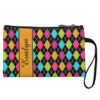 Argyle Pattern Clutch w/Name Canteloupe Pink Green