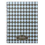 Argyle Pattern Custom Notebook (chocolate/blue)