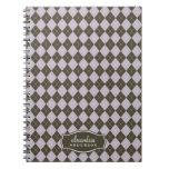 Argyle Pattern Custom Notebook (chocolate/lilac)