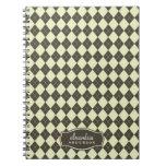 Argyle Pattern Custom Notebook (chocolate/mint)