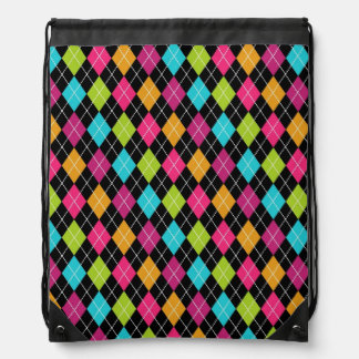 argyle pattern drawstring bag