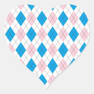 Argyle Pattern Heart Sticker