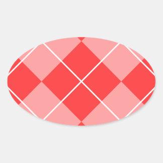 Argyle Pattern Image Oval Sticker