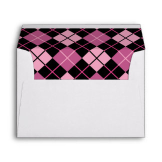 Argyle Pattern in Black and Pink Envelopes