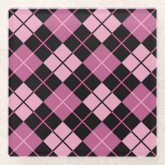 Argyle Pattern in Black and Pink Glass Coaster
