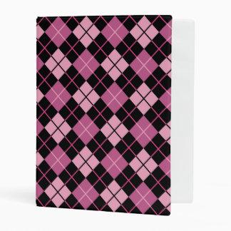 Argyle Pattern in Black and Pink Mini Binder