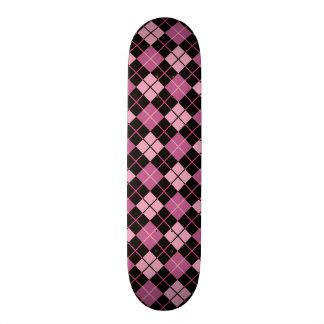 Argyle Pattern in Black and Pink Skateboard Deck