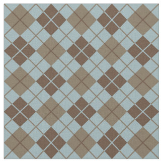 Argyle Pattern in Blue and Taupe Fabric