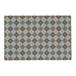 Argyle Pattern in Blue and Taupe Placemat