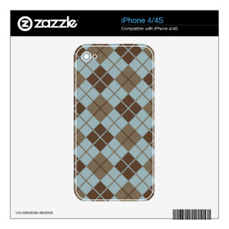 Argyle Pattern in Blue and Taupe Skin For The iPhone 4