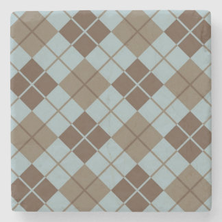 Argyle Pattern in Blue and Taupe Stone Coaster