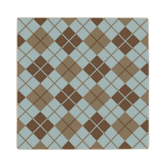 Argyle Pattern in Blue and Taupe Wooden Coaster