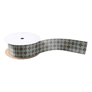 Argyle Pattern in Blue and Taupe Satin Ribbon
