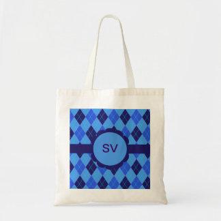 Argyle pattern in blue initial V S tote bag