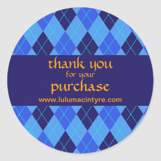 Argyle pattern in blue thank you stickers